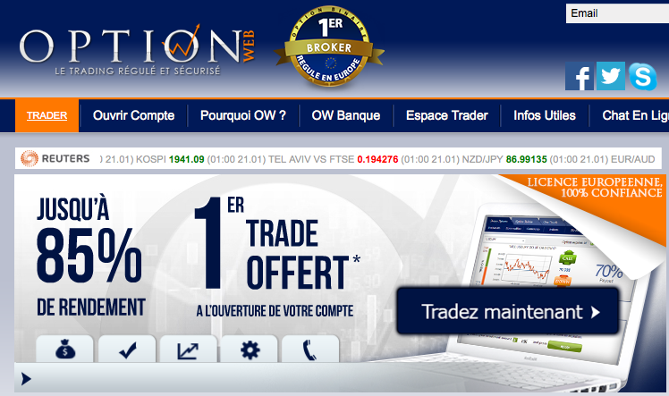 Optionweb page d'acceuil